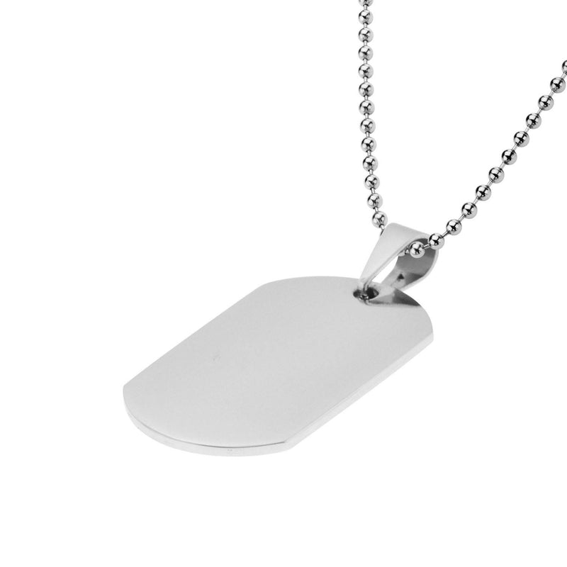 Dog Tag Pendant with all over Polished Finish. Engraveable - Bijouterie en ligne - 2