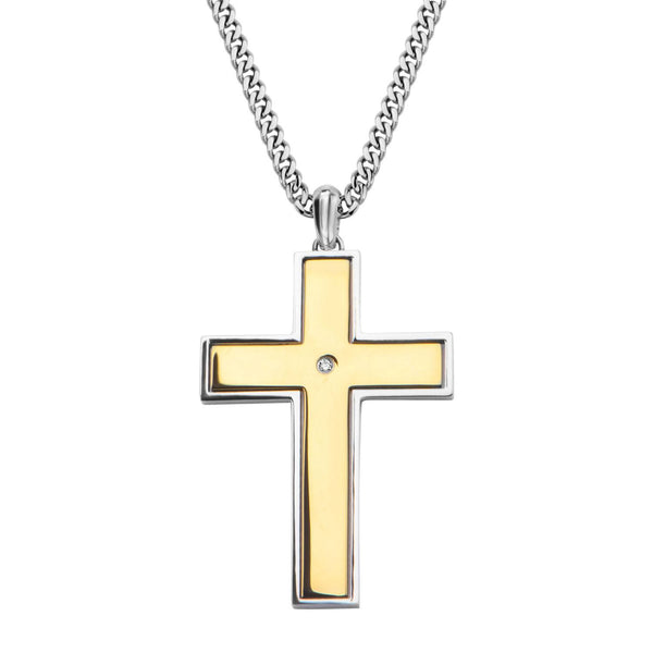 Gold IP Lord's Prayer and Spinner Cross Two Tone Pendant with Chain - Bijouterie en ligne - 1