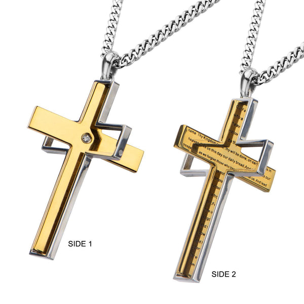 Gold IP Lord's Prayer and Spinner Cross Two Tone Pendant with Chain - Bijouterie en ligne - 2