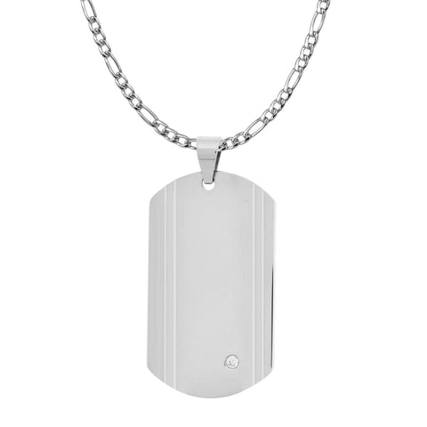 dog tag pendant with a single CZ stone. Engraveable. - Bijouterie en ligne - 1