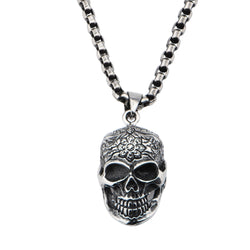 Steel Flower on Forehead Skull Pendant - Bijouterie en ligne - 1