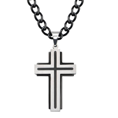 Black IP and Steel Two Layer Cross Pendant with Black IP Line Top Cross - Bijouterie en ligne - 1