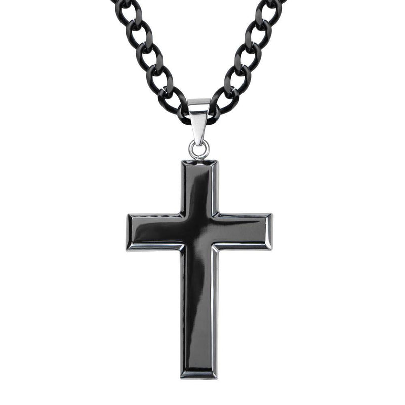 Black IP and Steel Rising Up Cross Pendant - Bijouterie en ligne - 1