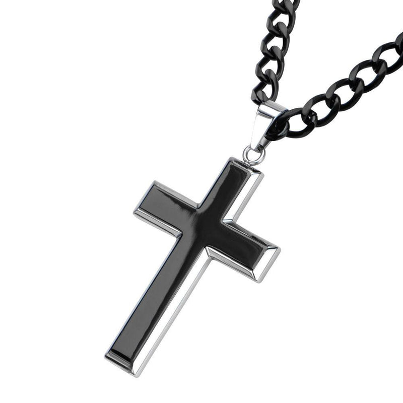 Black IP and Steel Rising Up Cross Pendant - Bijouterie en ligne - 2