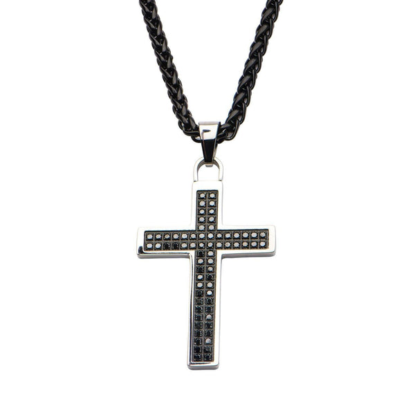 Mens Genuine Diamond Cross Pendant with Chain
