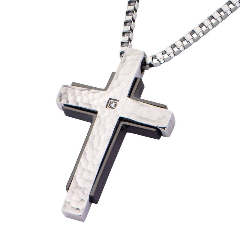 Hammered with CZ and Black IP Back Cross Pendant - Bijouterie en ligne - 2