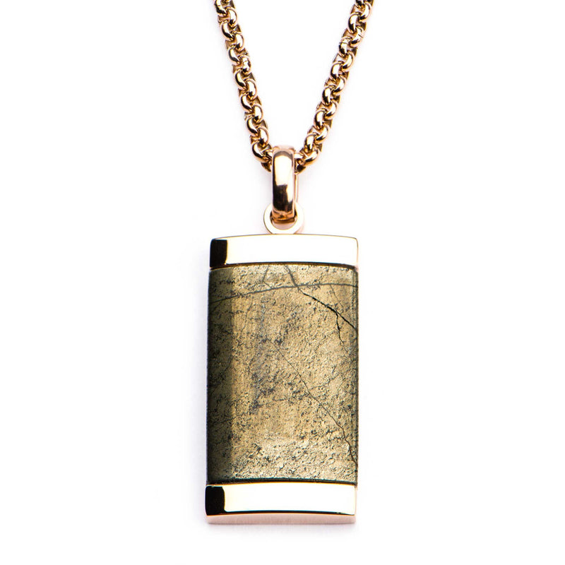 Chalcopyrite Dog Tag Pendant with Rose Gold Plated Chain