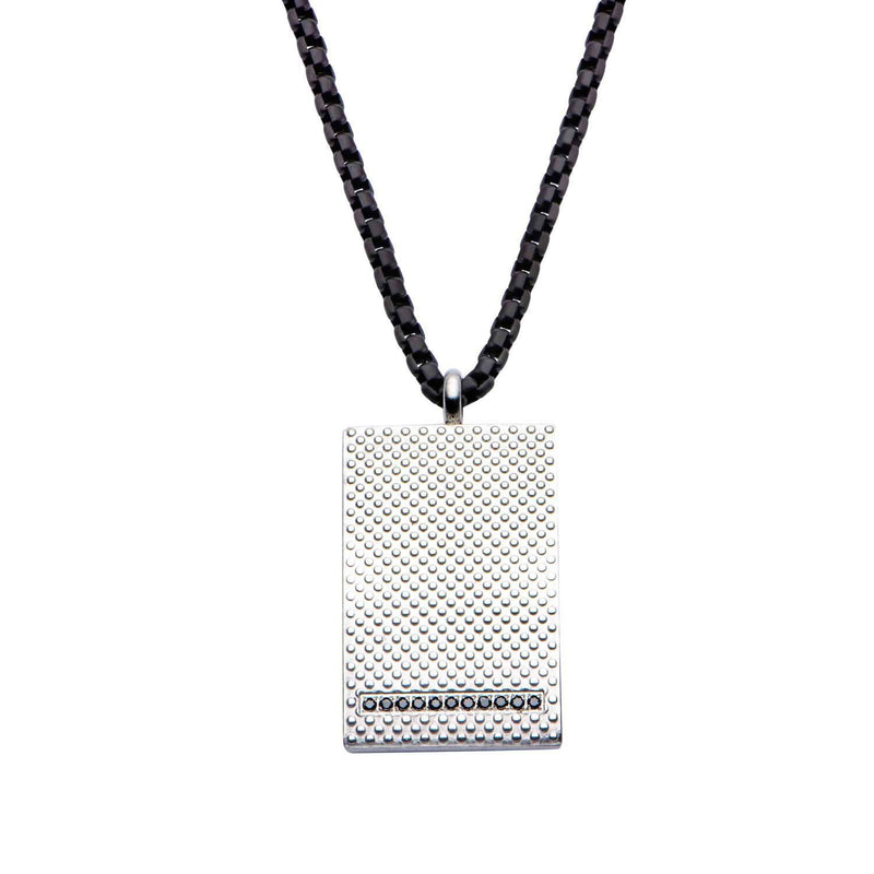 Matte Finished in Black CZ Dotted Pendant with Black IP Chain 3mm - Bijouterie en ligne - 1