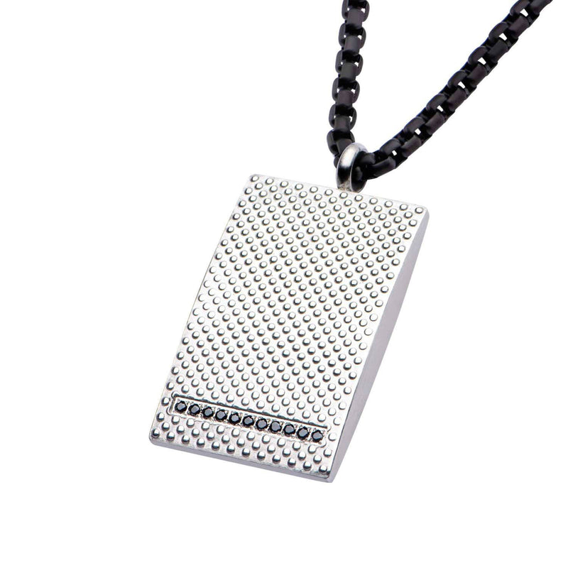 Matte Finished in Black CZ Dotted Pendant with Black IP Chain 3mm - Bijouterie en ligne - 2