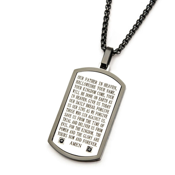 Black IP with Lord's Prayer & Black CZ Gem Dog Tag Pendant with Chain