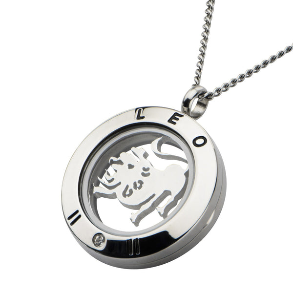 Zodiac Leo Pendant with Clear CZ and Black Engraved Accent. - Bijouterie en ligne - 2