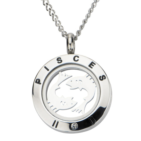 Zodiac Pisces Pendant with Clear CZ and Black Engraved Accent - Bijouterie en ligne - 1