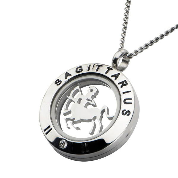 Zodiac Sagittarius Pendant with Clear CZ and Black Engraved Accent. - Bijouterie en ligne - 2