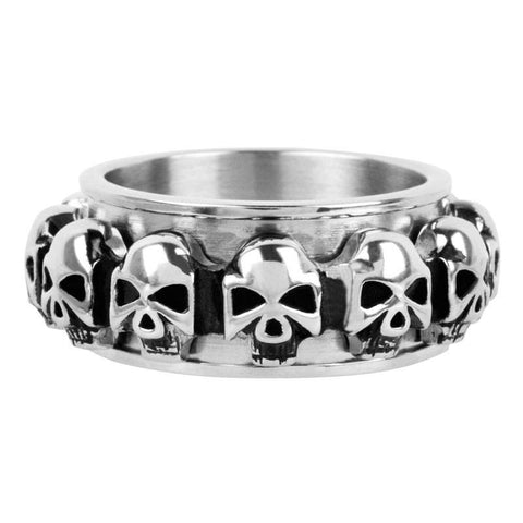 Spinner Ring with Multiple Skulls all Around - Bijouterie en ligne
