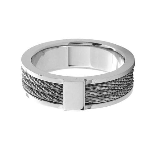 Steel Cable Inlayed Comfort Fit Ring - Bijouterie en ligne