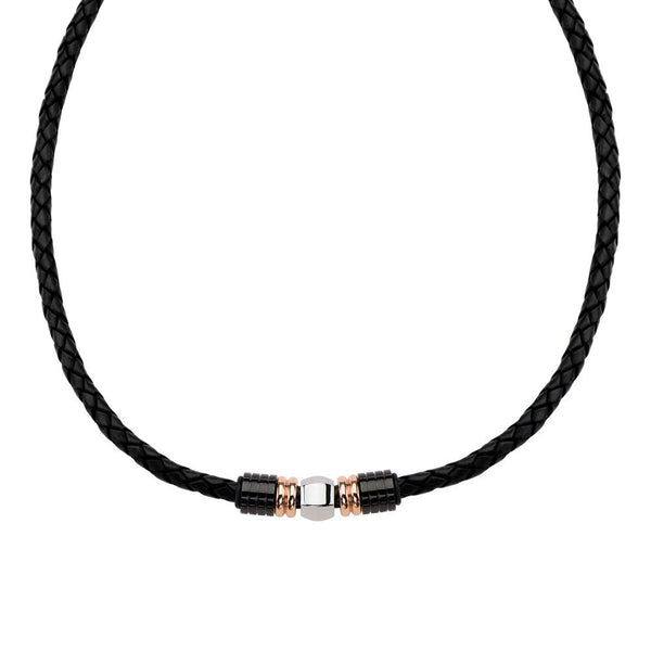 IP Rose Gold & IP Black Bead Leather Necklace - Bijouterie en ligne