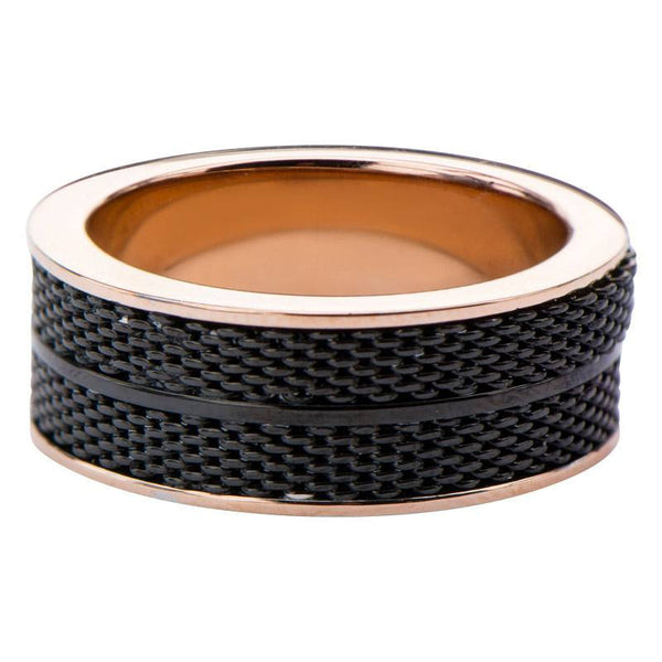 IP BLack and Rose Gold Mesh Design Ring - Bijouterie en ligne - 1