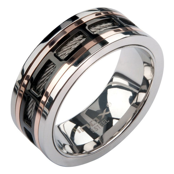 IP Black Spinner Window Steel Ring -