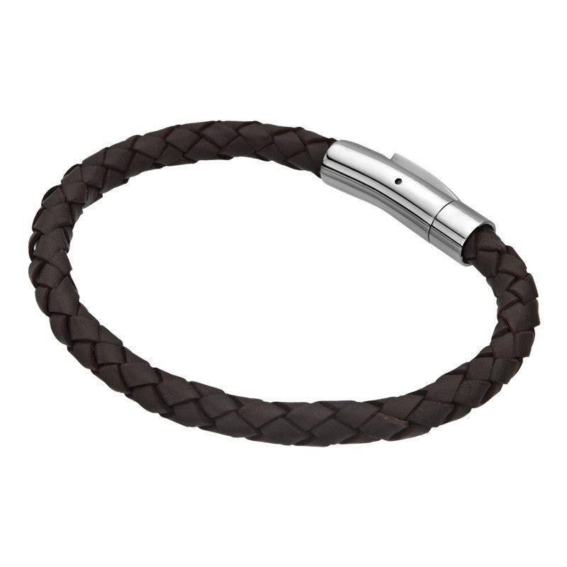 Single Dark Brown Braided Leather Bracelet - Bijouterie en ligne