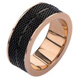 IP BLack and Rose Gold Mesh Design Ring - Bijouterie en ligne - 2