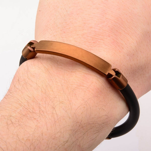 Brown Bar ID Rubber Bracelet - Bijouterie en ligne - 2