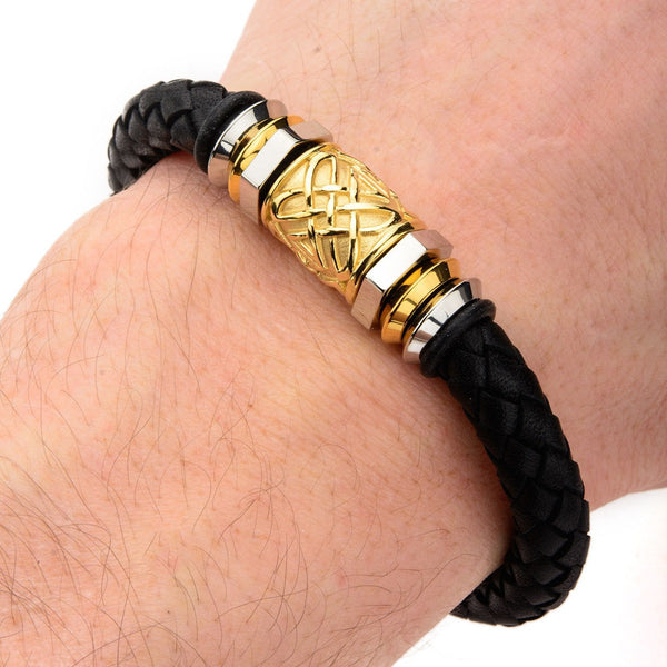 Steel and Gold IP Bead in Black Braided Leather Bracelet - Bijouterie en ligne - 2