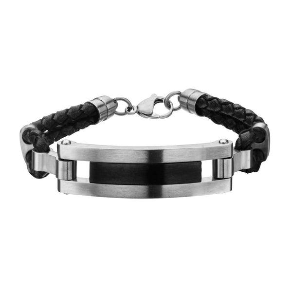 Matte Black Finished ID in Black Leather Bracelet with Losbter Clasp - Bijouterie en ligne - 1