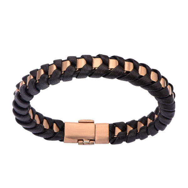 Rose Gold IP Matte Finished with Black Leather Thread Bracelet - Bijouterie en ligne - 1