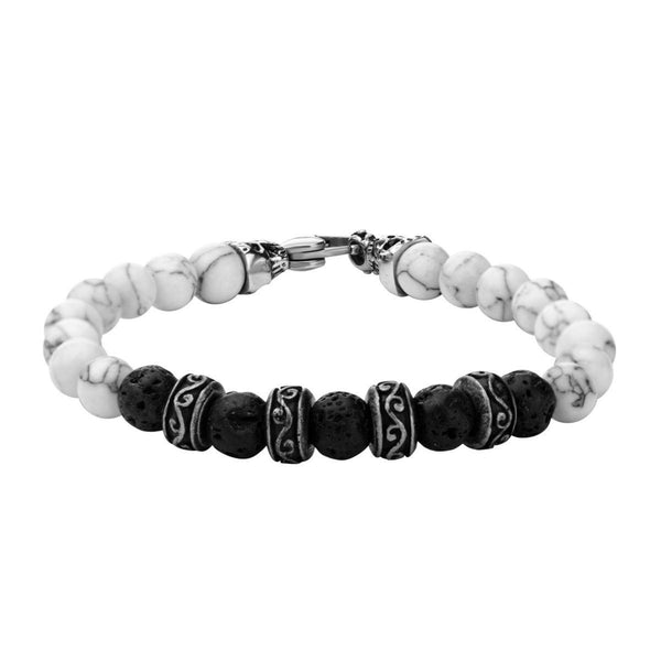 8mm Black Lava and White Howlite Beads Bracelet - Bijouterie en ligne - 1