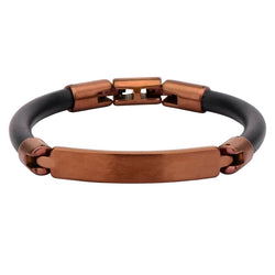 Brown Bar ID Rubber Bracelet - Bijouterie en ligne - 1