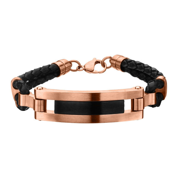 Rose Gold IP and Matte Black Finished ID in Black Leather Bracelet with Lobster Clasp - Bijouterie en ligne - 1