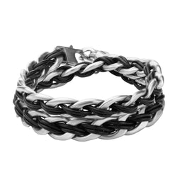 Curb Chain with Black Leather Thread and Anchor Charm Bracelet - Bijouterie en ligne - 1