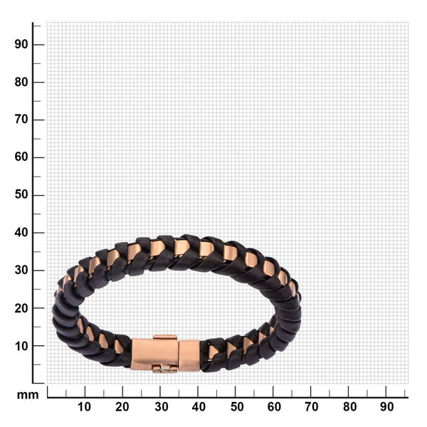 Rose Gold IP Matte Finished with Black Leather Thread Bracelet - Bijouterie en ligne - 2