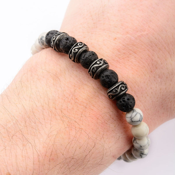 8mm Black Lava and White Howlite Beads Bracelet - Bijouterie en ligne - 2