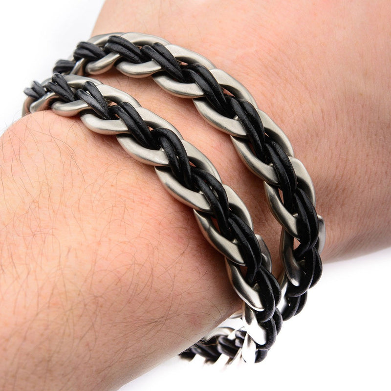 Curb Chain with Black Leather Thread and Anchor Charm Bracelet - Bijouterie en ligne - 2