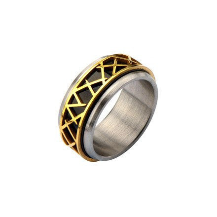 IP Black with IP Gold Thorn Ring - Bijouterie en ligne - 1