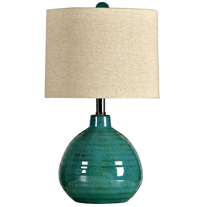 CORNERSTONE HOME INTERIORS - TURQUOISE CERAMIC TABLE LAMP