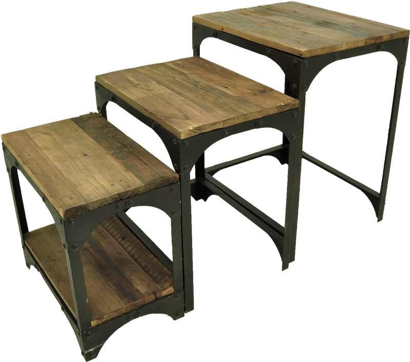 CORNERSTONE HOME INTERIORS - INDUSTRIAL NESTING TABLES (SET OF THREE)