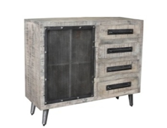 CORNERSTONE HOME INTERIORS - SIDEBOARD - MANGO WOOD SIDEBOARD WITH IRON ACCENTS