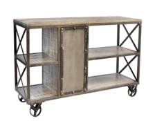 CORNERSTONE HOME INTERIORS - CART - MANGO WOOD WHEELED TROLLEY WITH IRON ACCENTS