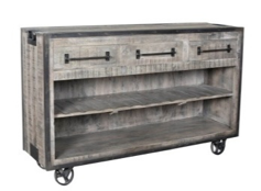 CORNERSTONE HOME INTERIORS - CART - MANGO WOOD WHEELED WINE CART WITH IRON ACCENTS