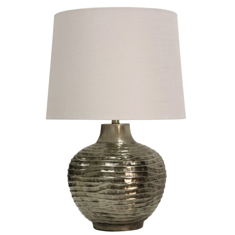 CORNERSTONE HOME INTERIORS - AGED SILVER METAL LAMP