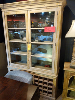 GRAY PARLOR CABINET WITH WINE STORAGE