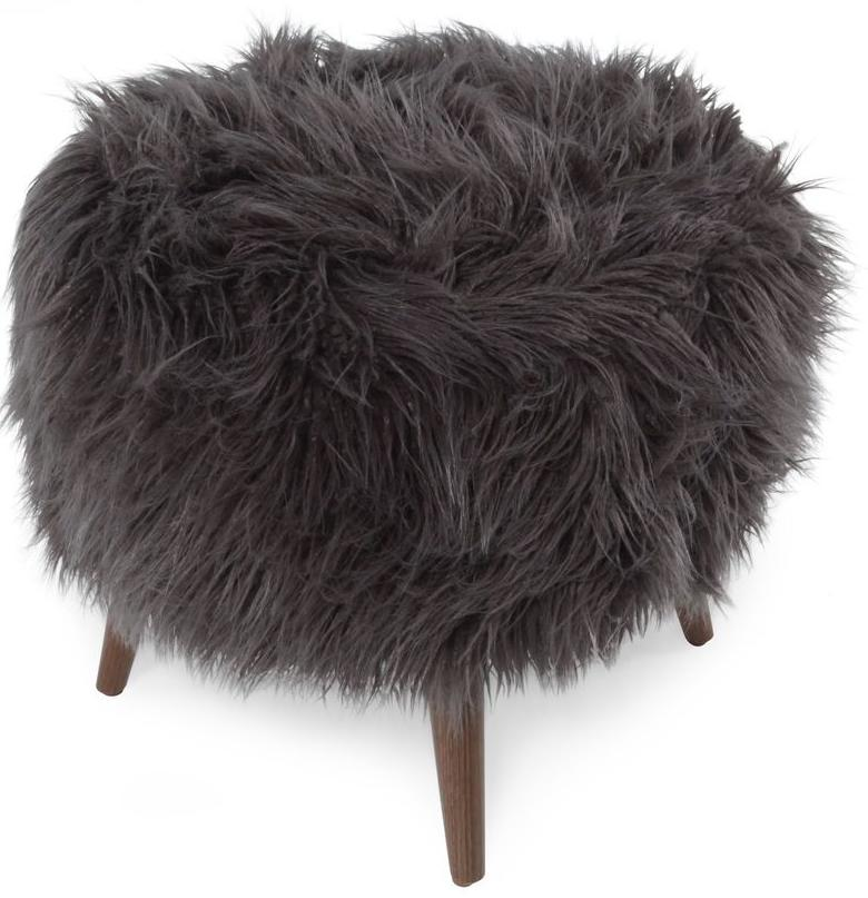 CORNERSTONE HOME INTERIORS - THE BIBI OTTOMAN (IN LLAMA FUR CHARCOAL)