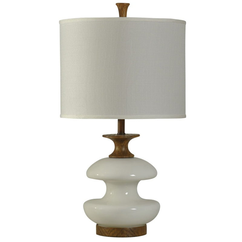 CORNERSTONE HOME INTERIORS - WHITE GLASS TABLE LAMP