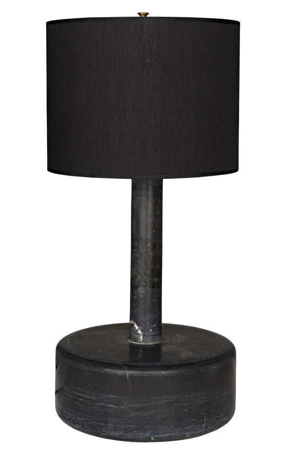 CORNERSTONE HOME INTERIORS - BLACK MARBLE CYLINDER LAMP