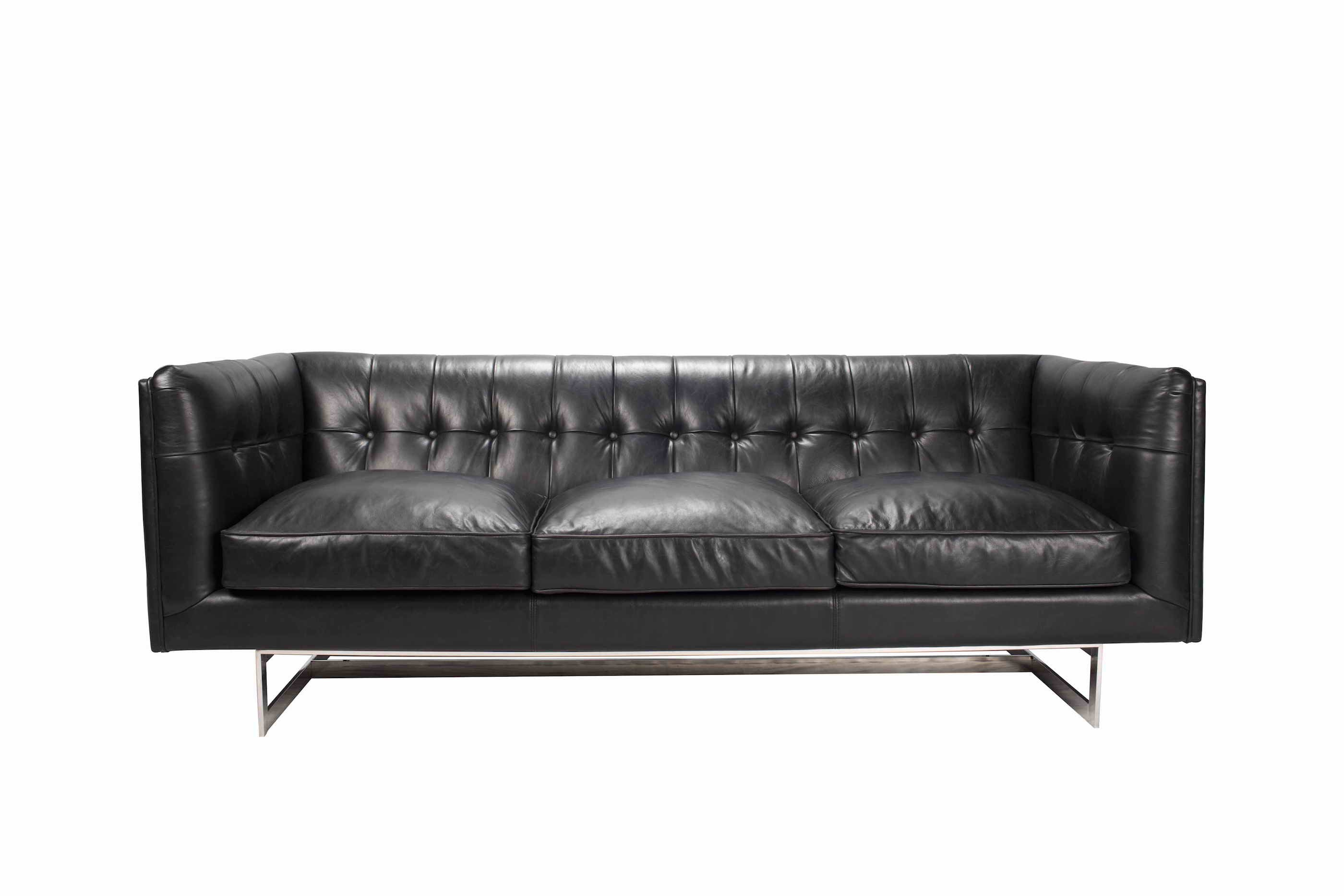 FISTRAL TUFTED SOFA IN TOP GRAIN LEATHER WITH STAINLESS BASE