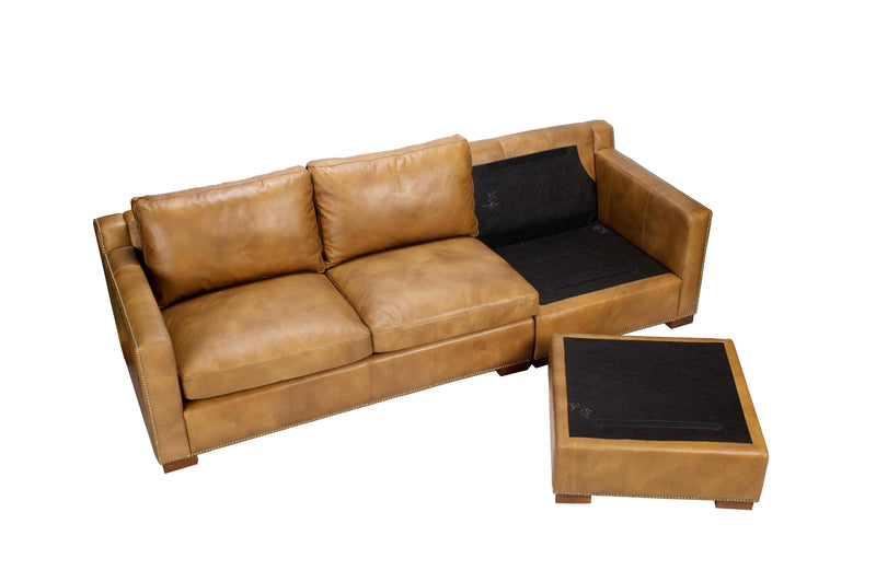 CORNERSTONE HOME INTERIORS - SOFA WITH CHAISE - RICKENBACKER SOFA IN NEW NUT TER LEATHER