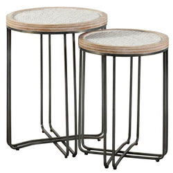 SET OF TWO NESTED ROUND TABLES