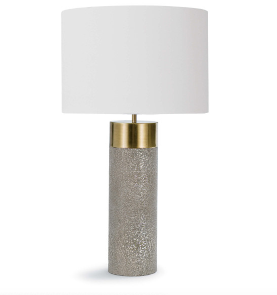 HARLOW IVORY GREY SHAGREEN LAMP